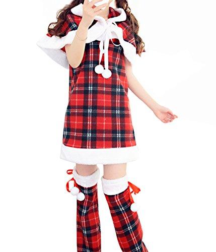 YFFaye Women's Lovely Sexy Christmas Role Play Mini Plaid Dress (Betty And Barney Rubble Costumes)