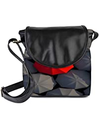 Snoogg Red And Black Umbrella Womens Sling Bag Small Size Tote Bag