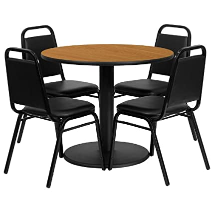 36'' Round Natural Laminate Table Set of 4 Black Chairs Round Base