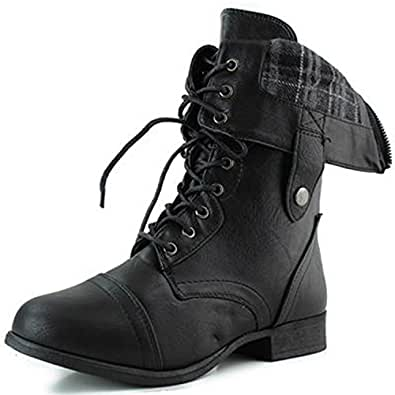 Top Moda Women's SMART-1 Fold Down Military Lace Up Combat Boots Black 5