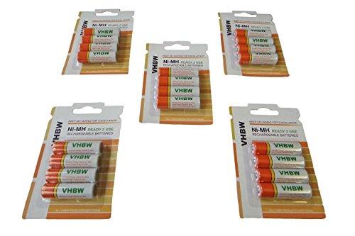 vhbw 20 x AA, Mignon, HR6, LR6 Akku 2000mAh für Telekom T-Sinus Mobilteil 62K Komfort, 61K Komfort, S117 Classic, S314 Comfort