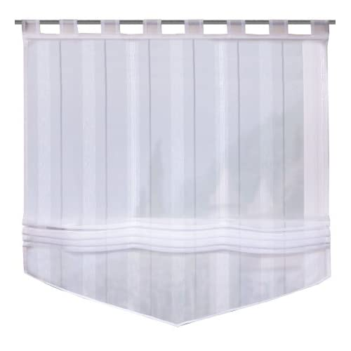 iovivo Cara Roman Blind with Voile-Effect Striping and Hanging Loops 170X120 CM white