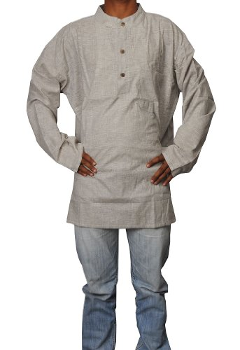 Hand Made Casual Wear Indian Khadi Mens Short Kurta Fabric For Winter & Summers Size-5XL