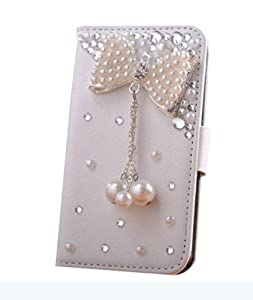 niceeshop(TM) White 3D Rhinestone Pearl Bowknot Pendant PU Leather Flip Wallet Case Cover For iPhone 5 5S +Screen Protector