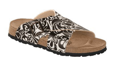 Image of Birkis slippers Guam in size 35.0 W EU made of Birko-Flor in Swinging Waves Brown with a regular insole (B00511880W)