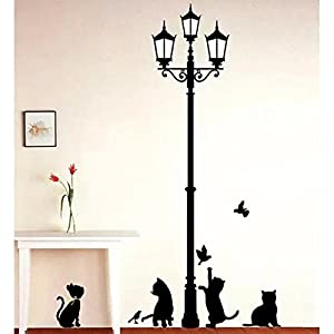 COOLCASE Lamp & Lovely Cats Wall Sticker Paper Family DIY Black Words Room Art Mural Wall Sticker by COOLCASE