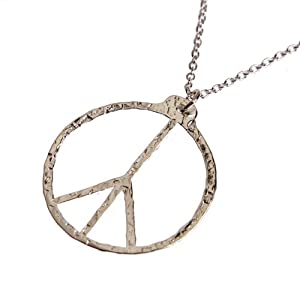 Peace Symbol Hand Hammered Delicate Silver Dipped Pendant Necklace on 18