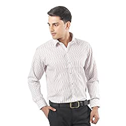ZIDO Red Blended Men's Striped Shirts PCFLX1283_Red_38