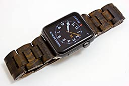 Handcrafted Wooden Band for Apple Watch - Stainless Steel Butterfly Clasp with Adjustable Links - 4 Natural Hardwood Options Men and Women Strap and Bracelet Sizes 38mm 42mm - By Wood Mark