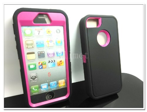 Buy  Multi Color Iphone 5 5S Body Armor Silicone Hybrid Cove Hard Case, Three Layer Silicone PC Case Cover for iPhone 5 5S (Black+Pink)