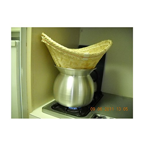 Sticky Rice Steamer Pot and Basket imagination and design is ghost mask on Hallooween Day Home décor., Garden and restaurant.
