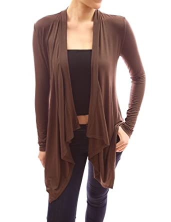 PattyBoutik Comfy Drape Collar Long Sleeve Asym Hem Cardigan (Brown M)