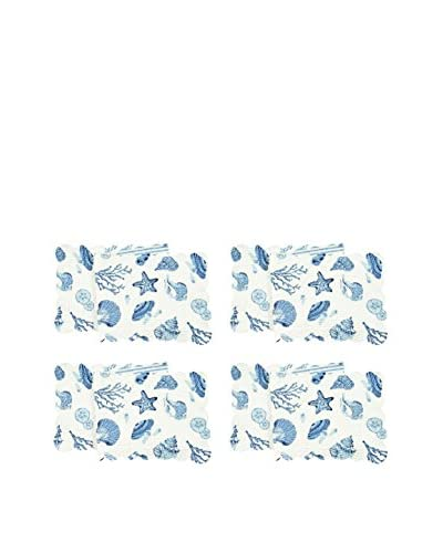 Quilted Scalloped Runner, By The Sea, Blue, Set of 4