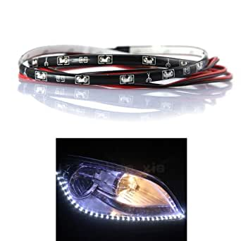 DBPOWER 2PCS 30cm 15leds LED Car / Auto Car Side Strip / Tears Lights / Eyebrow Lights / Daytime Running lights / LED lights / Decorative lights / Soft Light For All Cars, Waterproof
