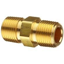 Parker Brass Pipe Fitting, Hex Nipple, NPT Male X NPT Male