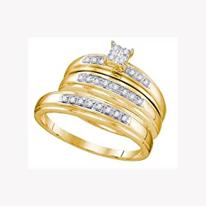 14K Yellow Gold Round Cut Diamond Engagement Wedding Trio Set .20 Cttw