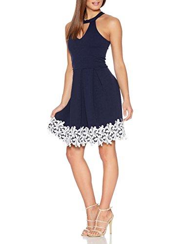 Fantaist Women's Halter Neck Backless Patchwork Floral Lace Homecoming Dress (8, Royal Blue)