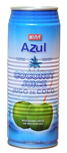 Mira 'Azul' Coconut Water with Pulp, 17.5 Ounce Cans (Case of 24)