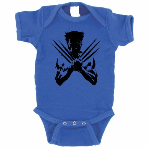 Wolverine Baby One Piece Xmen Super Hero Creeper (Newborn, Royal Blue) front-929161