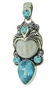 Buy Exquisite Bali Goddess Pendant Blue Topaz Cz Sterling Silver Yoga Jewelry by Soul Jewelry