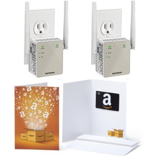 2-Pack of Netgear AC1200 WiFi Range Extender - Essentials Edition (EX6120-100NAS) & 1 $20 Amazon.com Gift Card
