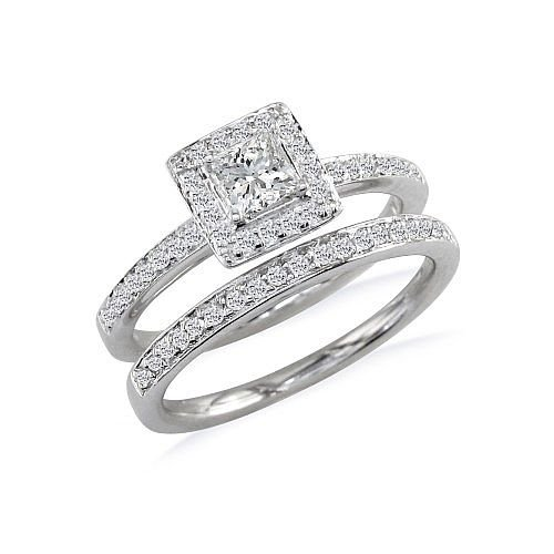 1 1/2ct Princess Cut Pave Diamond Bridal Set in 14k White Gold ( Sizes 4-9)1 1/2ct Princess Cut Pave Diamond Bridal Set in 14k White Gold ( Sizes 4-9)