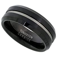 Tungsten 8 mm (5/16 in.) Comfort Fit Grooved Flat Band, Black Finish (Available in Sizes 7 to 14)