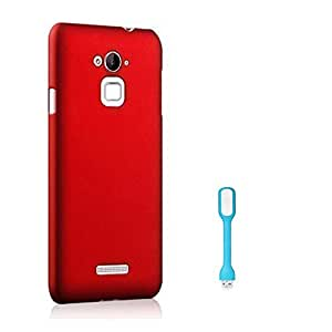SDO™ Luxury Matte Finish Rubberised Slim Hard Case Back Cover for Coolpad Note 3 Lite (Maroon Wine Red) + USB Flexible LED Light