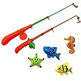 A-FOREST Baño de juguete de pesca 4pcs 2 juguetes Trole con disfrutar de baños de Funtime Juego de pesca Gran regalo para los niños de las muchachas por 3 Años de Edad Educación Temprana