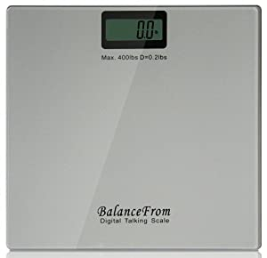 BalanceFrom High Accuracy Talking Digital Bathroom Scale with Audio On/Off Switch, 400 lb Capacity [NEWEST VERSION] (Silver)