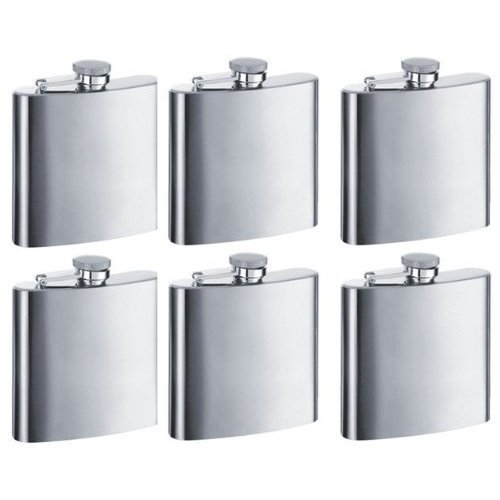 Personalized Set of 6 8oz Stainless Steel Groomsman Flask - Engraved, Garden, Lawn, Maintenance