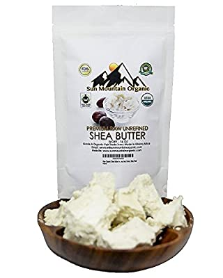 Raw Organic Shea Butter Ivory by Sun Mountain Organic - 1lb/16oz - Highest quality from Ghana Africa. Pure, for Dry Skin, Eczema, Acne, Stretch Marks, Hair Cream, Baby Rash