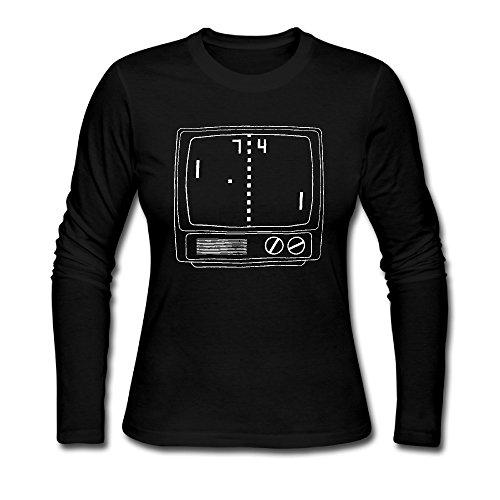Tennis shop223gioco di tennis 100%?Maniche lunghe in cotone Ragazza magliette Black Large