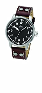 Laco 1925 Men's Mechanical Watch with Black Dial Analogue Display and Brown Leather Strap 861754