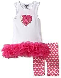 Mud Pie Baby-girls Newborn Heart Tunic and Biker Short Set, Pink/White, 0-6 Months