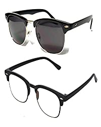 Shara UV Protected Club master unisex sunglasses set of 2 combo pack (Transparent & Black lens)