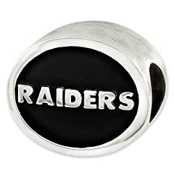 Sterling Silver Enameled Oakland Raiders NFL Bead for Refletion Series