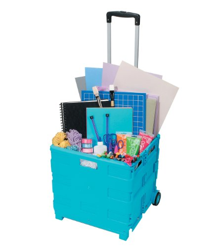 Darice Large Rolling Craft Cart, Blue