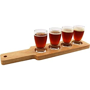 Beer Tasting Serving Set - Wood Paddle & 4 Glasses by Anchor Hocking