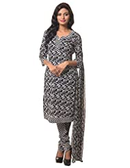 Utsav Fashion Women's Black Cotton Readymade Churidar Kameez-Medium
