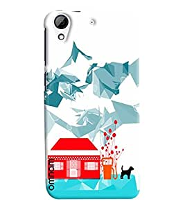 Omnam Hut Dog And Snow Combination Printed Designer Back Cover Case For HTC Desire 626
