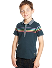 Pure Cotton Retro Striped Polo Shirt with StayNEW™