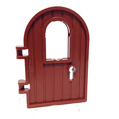 Lego Parts: Door 1 x 4 x 6 Round Top with Window and Keyhole (Reddish Brown) - 1
