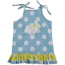 Mudpie Ruffle Dots Bunny Dress (0-6 Months, Blue)