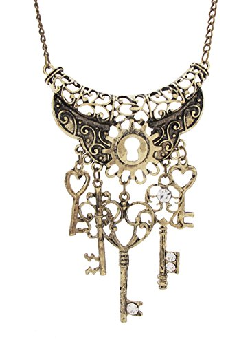 DaisyJewel-Bronze-Lock-and-Key-Multi-Pendant-Necklace