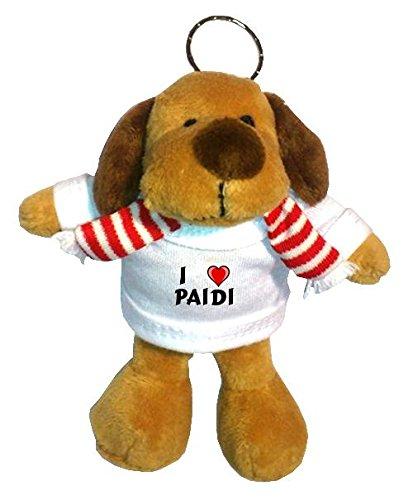 Plüsch Hündchen Schlüsselhalter mit T-shirt mit Aufschrift Ich liebe Paidi (Vorname/Zuname/Spitzname)