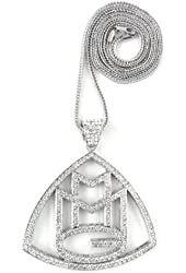 """ICED OUT SILVER RICK ROSS MMG PENDANT & 36"""" FRANCO NECKLACE CHAIN"""