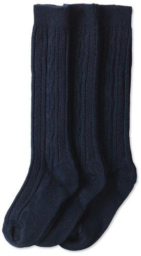 Jefferies Socks Little Girls'  School Uniform Cable Knee High  (Pack of 3), Navy, Small