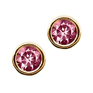 Carlo Bianca Pink 14K Yellow Gold Earrings Made With Swarovski Topaz