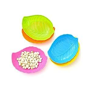 Set Of 4 Colorful Leaf Design Home Basics Fruit Baskets